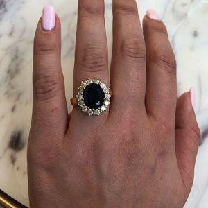 Dark blue CZ 18k gold plated ring